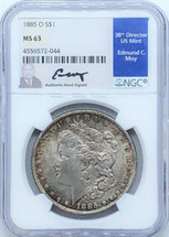 1885 O Morgan Dollar MS63 NGC Ed Moy signed New Orleans Mint