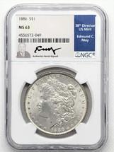 1886 Morgan Dollar MS63 NGC Ed Moy signed