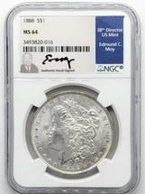 1888 Morgan Dollar MS64 NGC Ed Moy signed