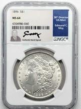 1896 Morgan Dollar MS64 NGC Ed Moy signed