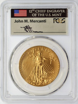 2018 $50 Gold Eagle MS70 PCGS First Day of Issue Mercanti Signed label