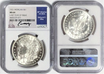1921 Morgan Dollar MS64 NGC Last Year of Issue Ed Moy signed