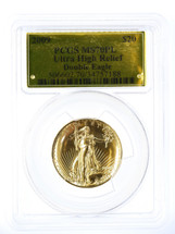 2009 $20 Gold Double Eagle MS70PL PCGS UHR Gold Foil label