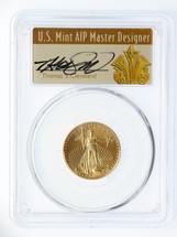 1999 $10 Gold Eagle MS70 PCGS Thomas Cleveland Art Deco signed label *Pop 1*
