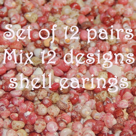 Set of 12 pairs mix 12 designs shell earrings