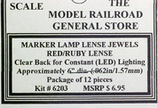 Ruby Lens Jewels for Marker Lamps, clear Back, no reflector