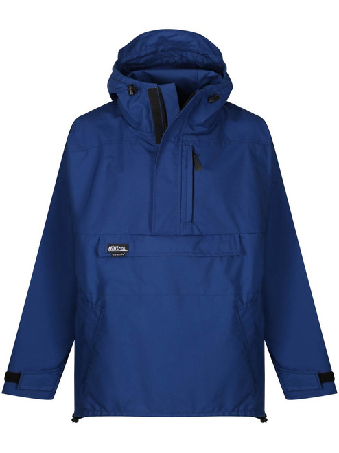 The Braemar Hybrid Smock which is fully waterproof in the shoulders and hood, weatherproof elsewhere. Colour: Royal Blue.