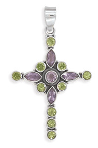 Amethyst and peridot cross pendant gifts on del mar amethyst and peridot cross pendant mozeypictures Gallery
