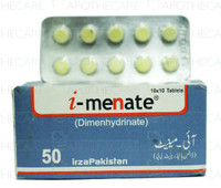 I-Menate (Dimenhydrinate) Tablet 50MG 10 Tablets