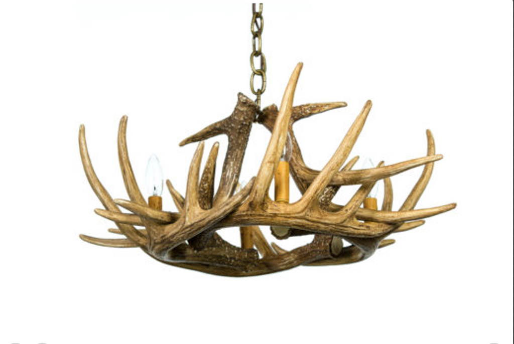 "Pine Bluff Whitetail Cast Antler Chandelier, 24""Wide by 11""Tall"