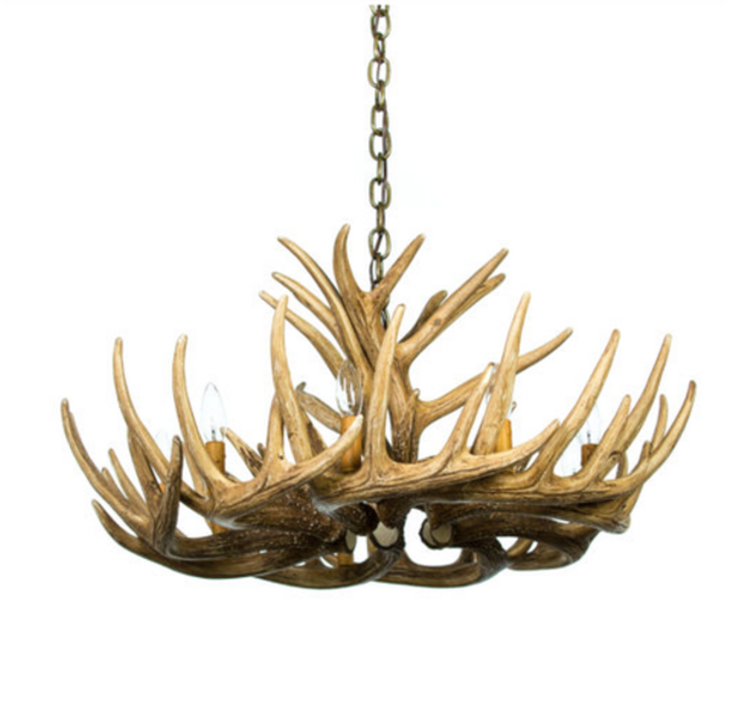 "The Blue Mounds Cast Antler Chandelier, 32""Wide by 14""Tall"