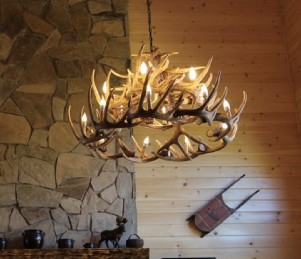 "The River Drive Cast Antler Chandelier,42""Wide by 26""Tall"