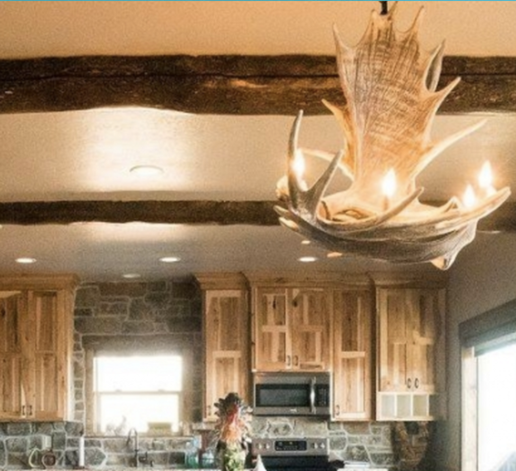 "The Denali Cast Moose Antler Chandelier, 32""Wide by 28""Tall"