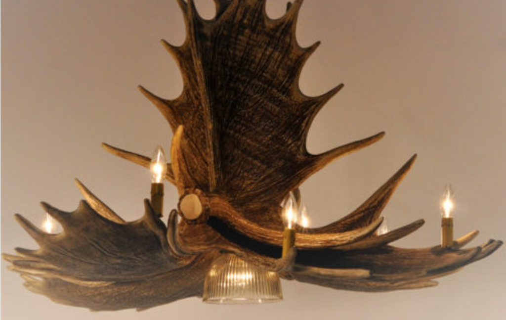 "The Kenai Cast Moose Antler Chandelier w/Down Light, 51""Wide by 26""Tall"