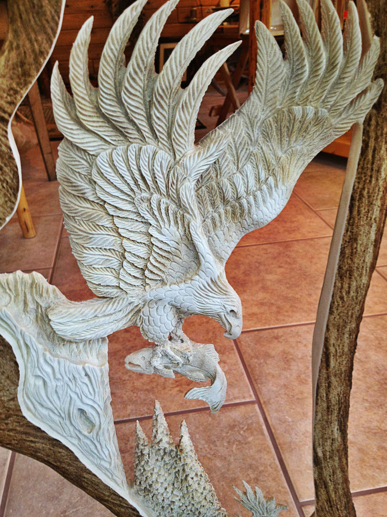 Eagle Last Catch Moose Antler Carving w/ Eagle Head