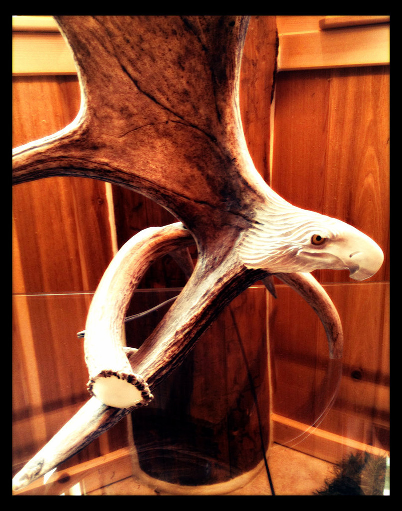 Moose Antler Table Lamp w/Carved Eagle Head, Rawhide Shade