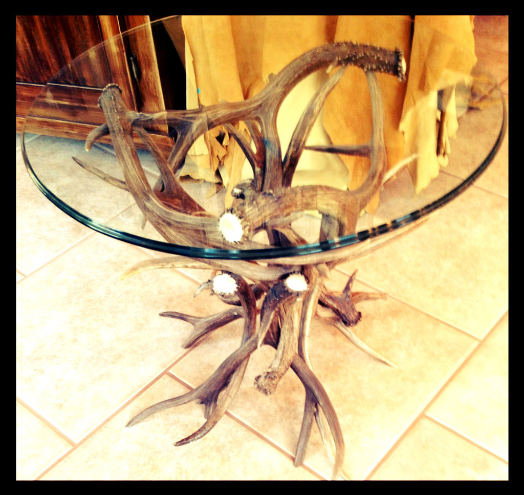 Mule Deer Antler End Table