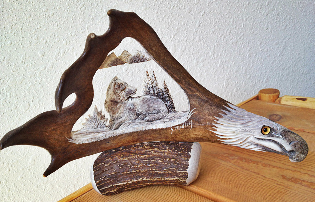 Resting Wolf Antler Carving