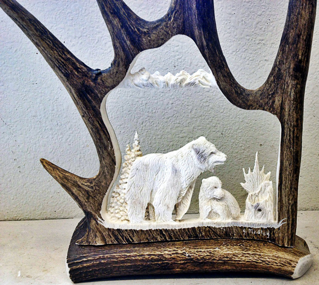 Momma Bear with Cub Antler Carving
