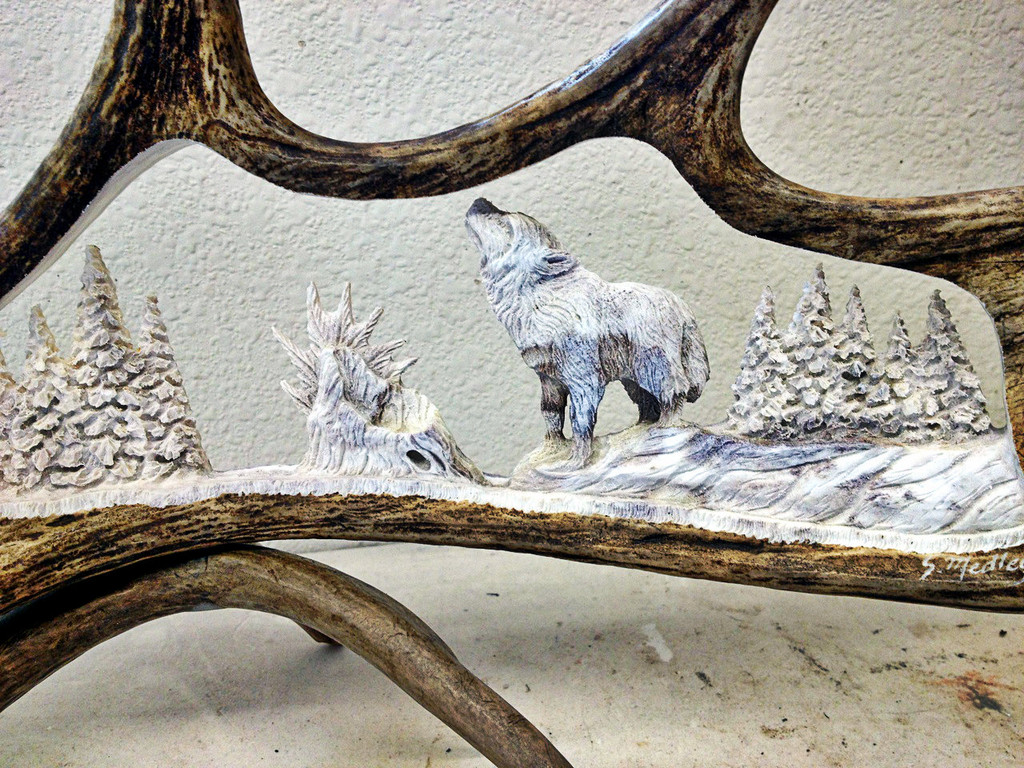 Solitary Wolf Antler Carving