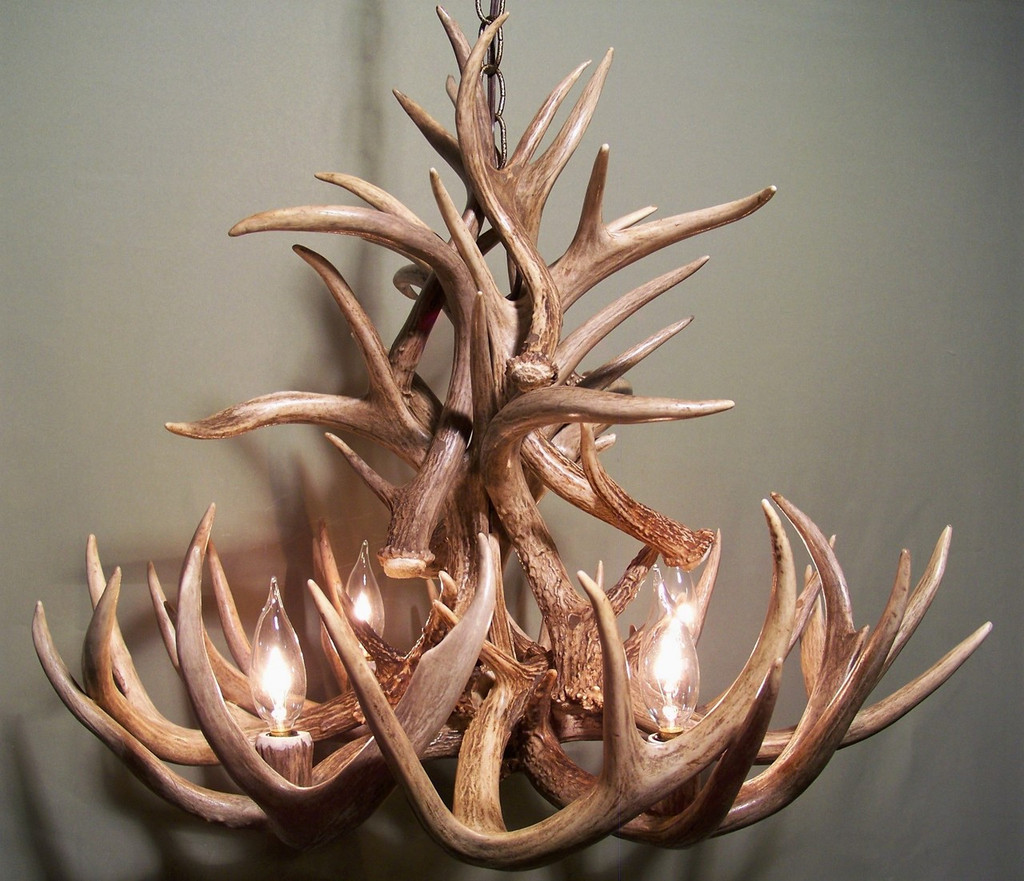 "The Iowa Deer Antler Chandelier, 23-24"" Wide x 18-20"" Tall, 4 Lights"