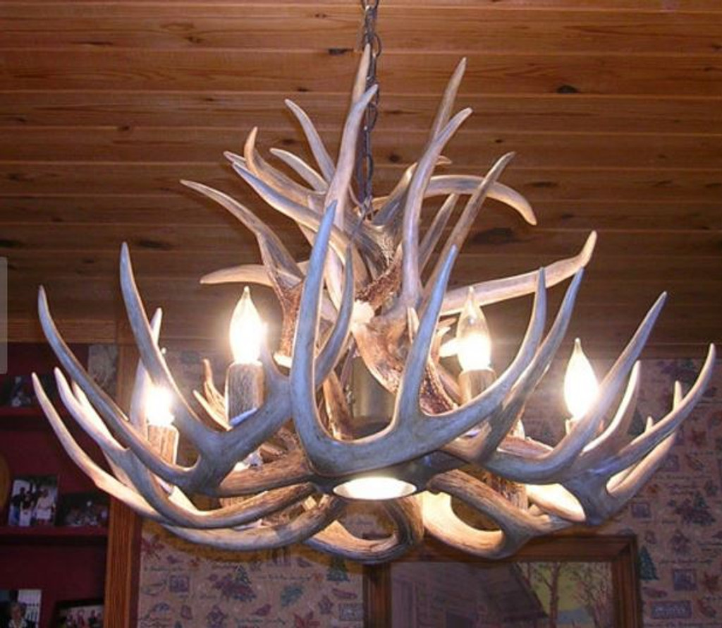 "The Maryland Deer Antler Chandelier, 28"" Wide x 20"" Tall, 6 Lights, Down Light"