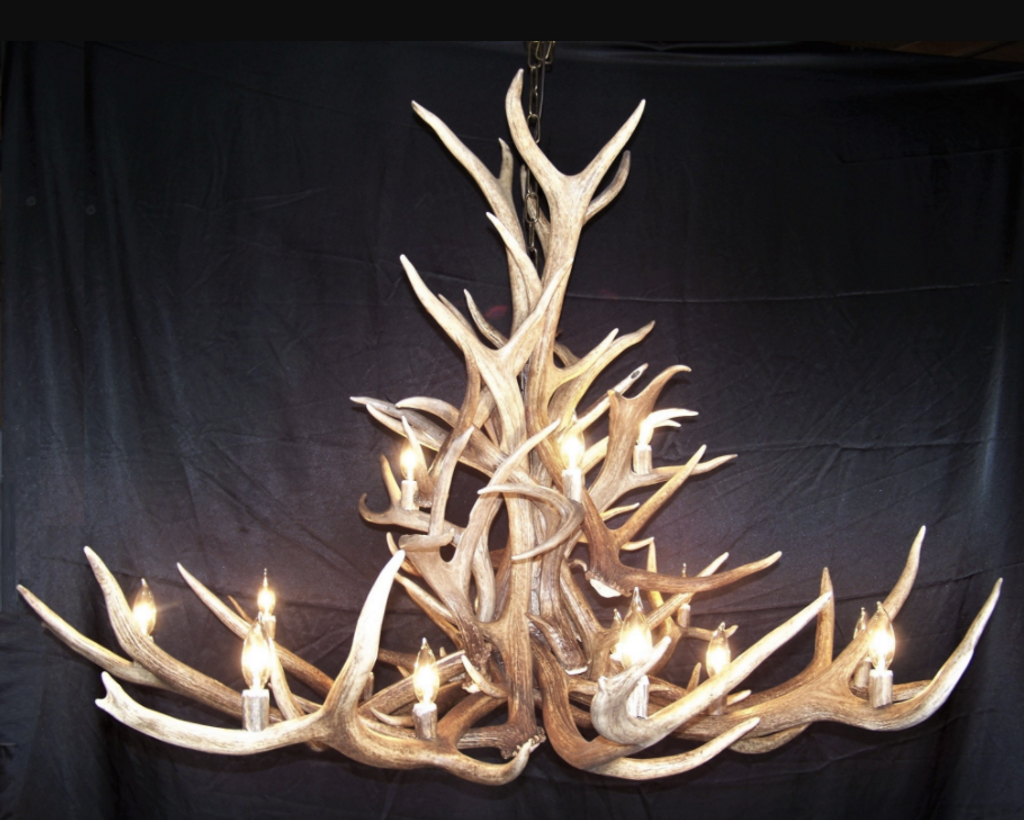 The Bob Marshall Wilderness Elk, Mule Deer Antler Chandelier, 2 Tier, 16 Lights