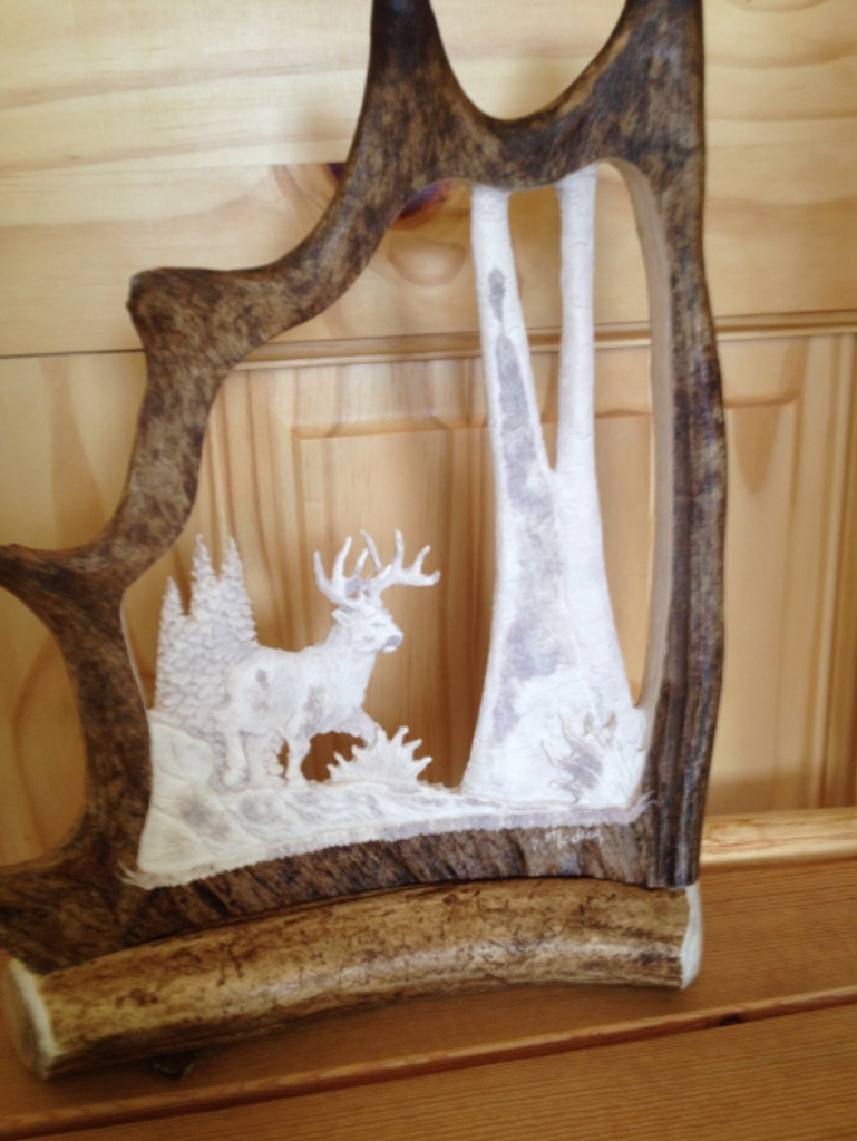 Running Whitetail Buck Antler Carving