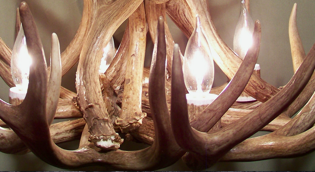 "The Lochsa Deer Antler Chandelier, 23"" wide by 20"" tall, two tier 7 lights"