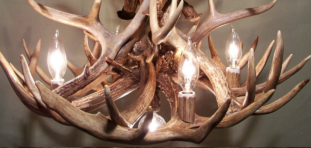"Palisades Deer Antler Chandelier, 24"" Wide by 20"" Tall, 4 Lights, Down Light"
