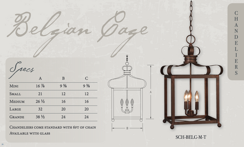 St. James Belgian Cage Copper Chandelier