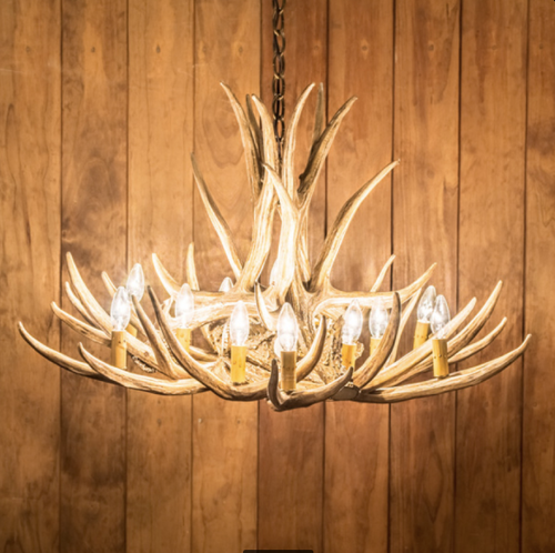"Kings Hill Cast Antler Chandelier, 32""Wide by 20""Tall"