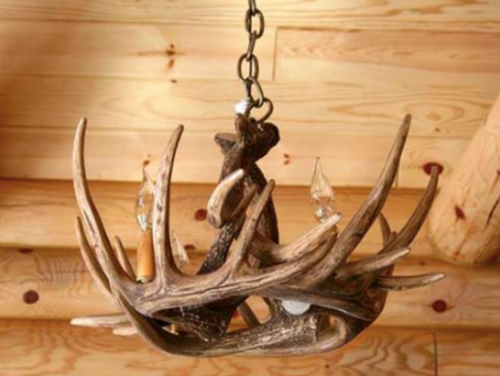 """Pine Bluff Whitetail Cast Antler Chandelier, 24""""Wide by 11""""Tall"""