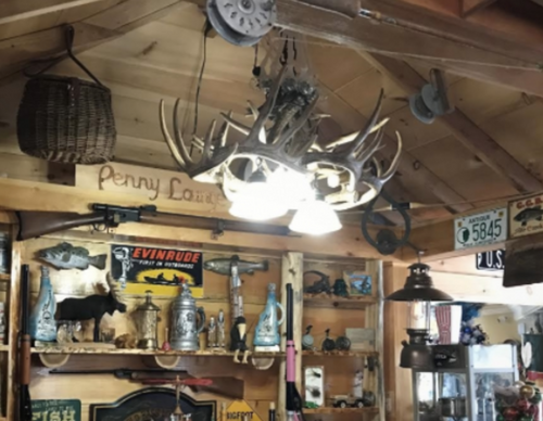 "The Coloma Whitetail Cast Antler Chandelier, 3 Downlights, 32""Wide by 25""Tall"