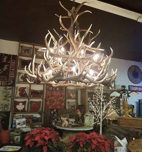 "The McCall Cast Elk Antler Chandelier, 60""Wide by 56""Tall"