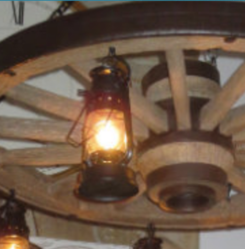 "The Wild West Large Wagon Wheel Chandelier, Reproduction,42"" Wide by 12""Tall"