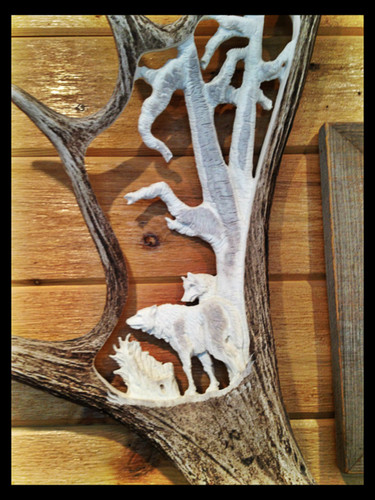 Wolf Spirit Hollow Antler Carving