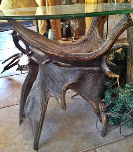 ... Moose Antler End Table W/Glass ...