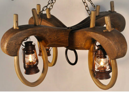 "Paul Bunyan's Double Ox Yoke Lantern, Reproduction,46""Wide by 46""Deep by 23""Tall"
