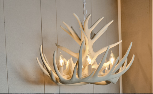 """The Lake Geneva Cast Antler Chandelier,24"""" Wide by 15"""" Tall"""