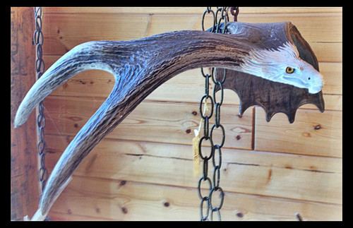 Antler Carving Hanging Eagle