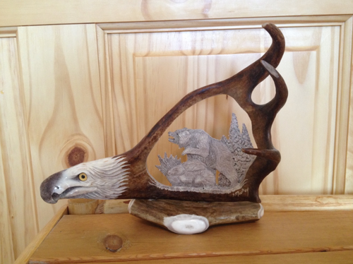 Wild Bear Antler Carving