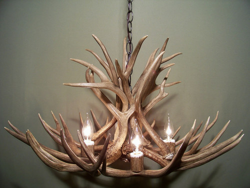 "The Colorado Deer Antler Chandelier, 28"" Wide x 15"" Tall, 4 Lights"