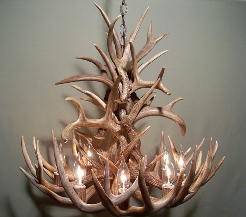 "The Ohio Deer Antler Chandelier, 27"" Wide x 21"" Tall, 8 Lights"