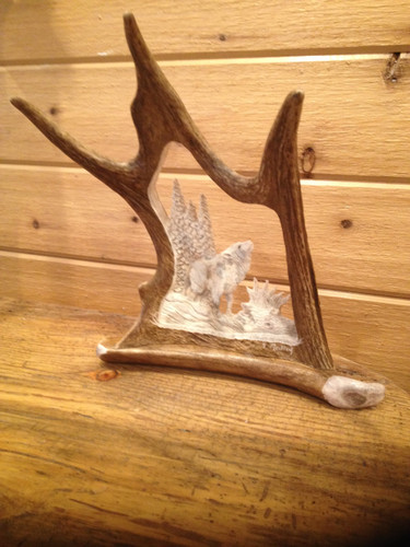 Howlin' at the Moon Wolf Antler Carving