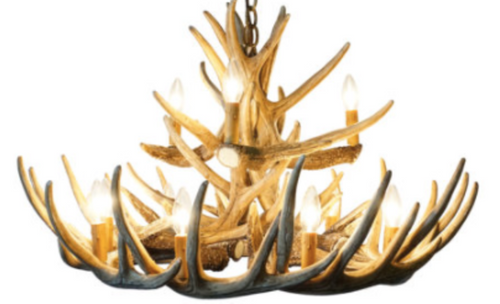 "The Wisconsin Deer Antler Chandelier, Reproduction,30""Wide by 20""Tall"