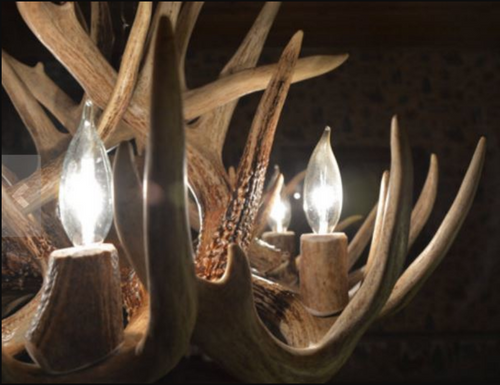 "The Arkansas Deer Antler Chandelier, 28"" Wide x 16"" Tall, 6 Lights, Down Light"