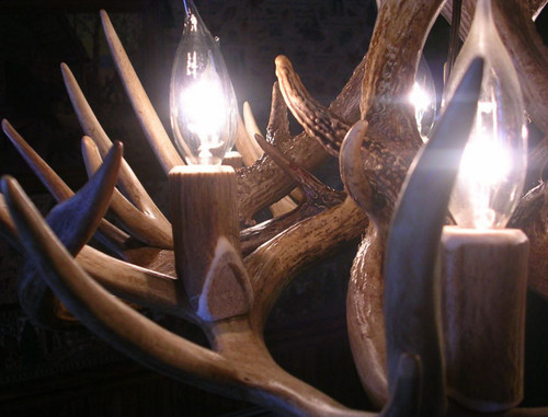 "The Kentucky Deer Antler Chandelier, 24"" Wide x 16"" Tall, 6 Lights"