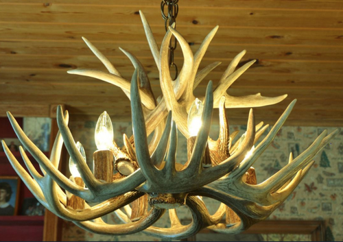 "The Alabama Deer Antler Chandelier, 24"" Wide x 16"" Tall, 6 Lights"