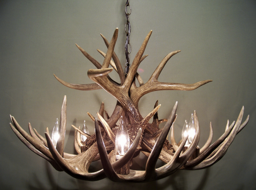 "The Illinois Deer Antler Chandelier, 30"" Wide x 17"" Tall, 6 or 8 Lights, Down Light"